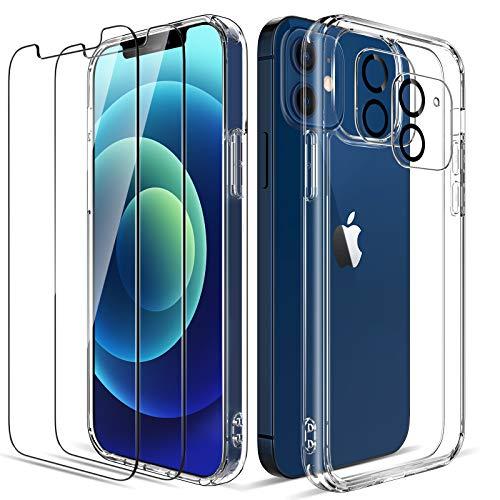 LK Custodia Posteriore Vetro Compatibile con iPhone 12 5G 6.1 Pollici, 2 Pezzi Pellicola Protettiva in Vetro Temperato & 2 Pezzi Pellicola Fotocamera, Protezione Cover-Trasparente