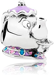 Pandora Disney Mrs. Potts and Chip Mixed Enamel Blue Sterling Silver Charm - Pendant - 792141ENMX