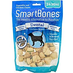 RAWHIDE-FREE: Easy-to-digest dog chews made with wholesome ingredients. DENTAL FORMULATION: Made with a vegetable outside wrapped around real chicken and essential dental ingredients inside – helps freshen breath, clean teeth and reduce plaque buildu...