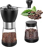 手動コーヒーグラインダーバリコーヒーグラインダー調整可能なハンドコーヒーグラインダーセラミックバリ付きガラス容器家庭、オフィス、旅行に最適