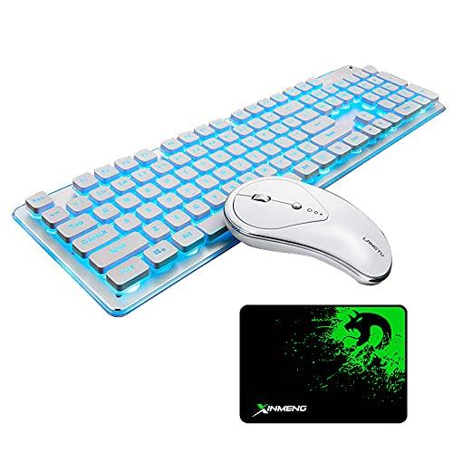 UrChoiceLtd Tastiera Wireless ricaricabile e mouse Combo Resistenza all'acqua 2.4 GHz Bianco / Blu Retroilluminato e Wireless Soundless Mouse con ricevitore Nano USB per PC portatile Mac (Bianco)