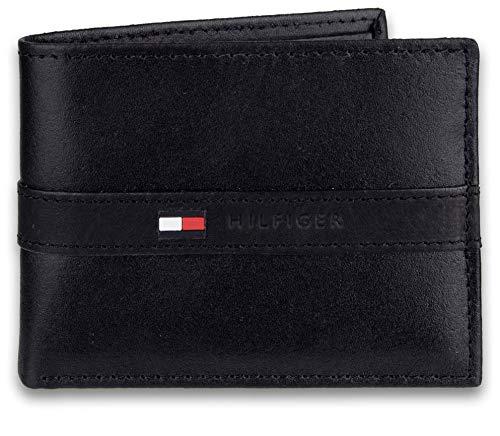 Tommy Hilfiger - Cartera con 6 Bolsillos para Tarjetas de crédito y Ventana de identificación extraíble Negro Negro ( Taille Unique