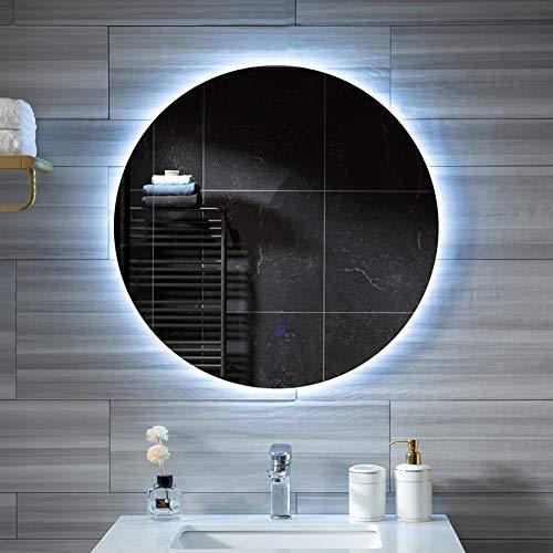 Miroir de Salle de Bain LED illuminé et désembuage, de Maquillage rétro-éclairé Rond Moderne, de Rasage Anti-déflagrant étanche, lumière Blanche/Chaude (60 / 70CM)