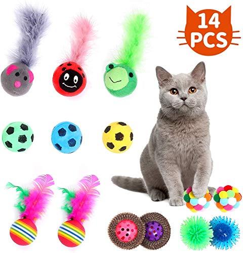 Joyoldelf katzenspielzeuge, Katzenminzenspielzeug, Kätzchenspielzeug Ball, Glockenkugeln, Fußball, Backenzahn Ball, Bunte Glocke, Spielzeugkugeln für Katzenkätzchenzubehör (14 Stück)