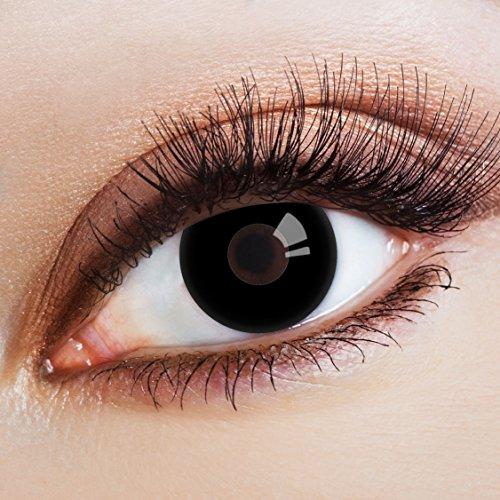 aricona Kontaktlinsen Farblinsen - Schwarze Jahreslinsen ohne Stärke - Halloween Kontaktlinsen schwarz Horror