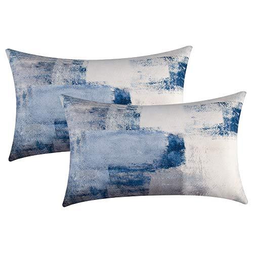 Eneston - Juego de 2 fundas de almohada decorativas Art Deco para dormitorio, sofá de salón, color azul y gris, 30 x 50 cm
