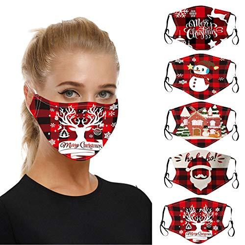 5 Piezas Masks-Mascarillas Adultos Algodón 𝐌𝐚𝐬𝐜𝐚𝐫𝐢𝐥𝐥𝐚𝐬 ,Navidad Impresiones...