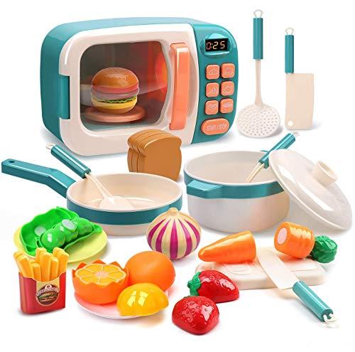 TOYSBBS Microondas de Juguete con luz y Sonido 28PCS con Alimentos Falsos incluidos,Juego de microondas de Cocina Toy Kitchen,Juegos de simulación para niños de 3 años en adelante
