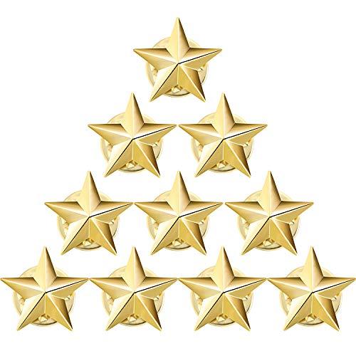 10 Piezas Pin Solapa Insignia de Estrella para Da Conmemorativo de 4 de Julio Fiesta Da de Los Veteranos Celebracin Da de Independencia Decoracion Traje Fiesta Da Trabajo(Oro)