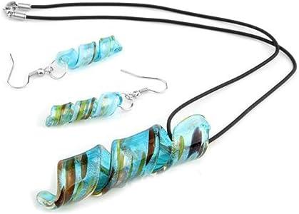 skyllcskyllc® Conjunto Cadena Pendientes Colgante Cristal de Murano Azul