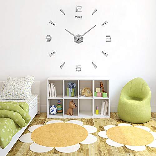 78Henstridge Frameless Mute Acryl Spiegel Wandklok Grote 3D DIY Quartz Metalen Stickers Wandklok voor Home Office Decoraties