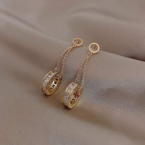 weichuang Pendientes de plata de ley 925 con diseño de circón de alto nivel, pendientes de moda para mujer coreana, elegantes, pendientes de gota para Halloween (color de metal: color oro)
