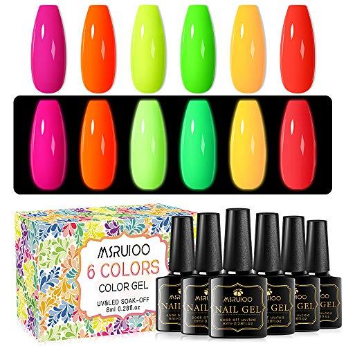 MSRUIOO Glow Gel Nail Polish Set Color Change Gel Polish Set Glowing in The Dark Nail Gel Polish 6 Colors Soak Off LED Gel Nail Kit 8ML-0.28FL.OZ