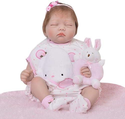 DMZH 55cm Süss Baby Simulation Neugeborenes Reborn Babypuppen Stoff Karosserie Weiß puppe Kinder Spielzeug Geburtstag Weißachten Geschenke