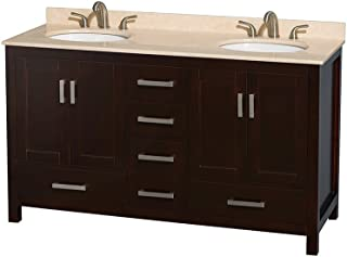 Wyndham Collection Sheffield 60 inch Double Bathroom Vanity in Espresso, Ivory Marble Countertop, Undermount Oval Sinks, and No Mirror