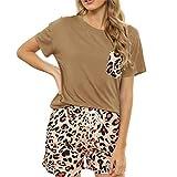 Molare Womens Casual Pajama Set Homewear Sleepwear Nightdress Algodón de algodón Camiseta Inicio Vestido Blusa y Shorts Set Imaginative