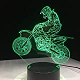 Novedad 3D Lámpara de escritorio 3D Off-Road Motocicleta Luz nocturna Led USB 7 Color Sensor táctil Lámpara de escritorio como regalo de vacaciones Decoración del hogar, regalo nuevo