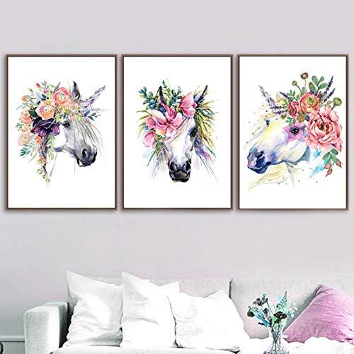 jjshily Nordic Poster Und Drucke Cartoon Aquarell Pferd Blume Kunst Leinwand Malerei Tiere Wandbild Für Wohnzimmer Schlafzimmer Dekor Kein Rahmen