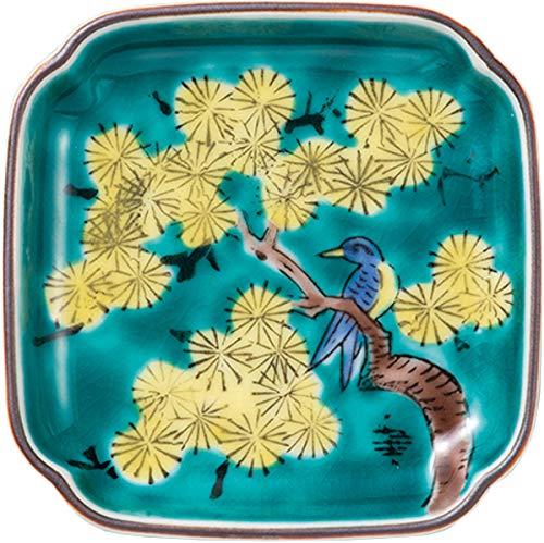 マルヨネ 小皿 『九谷焼』 辺9cm 3号皿・吉田屋松に鳥