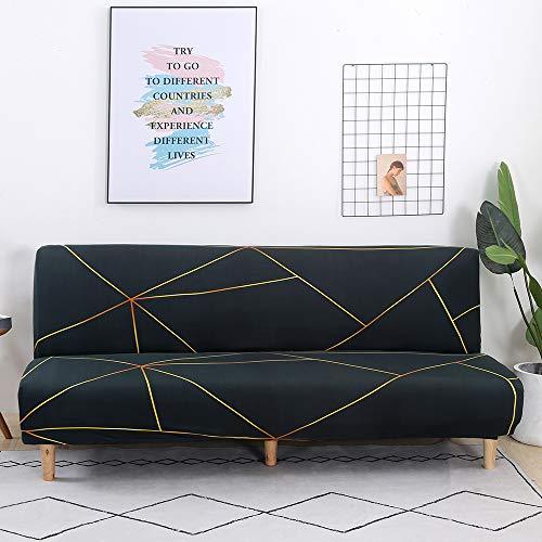 Mingfuxin - Copridivano senza braccioli, in poliestere e spandex, elasticizzato, a 3 posti, pieghevole, adatto per divano letto pieghevole senza braccioli