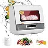 Portable Dishwasher Washing Programs with 3D Cyclone Spray, Fruit Vegetable Countertop Dishwasher with Basket, High Temperature Cleaning, Air Drying, Mini Dishwasher Machine Faucet Adapter Excluded