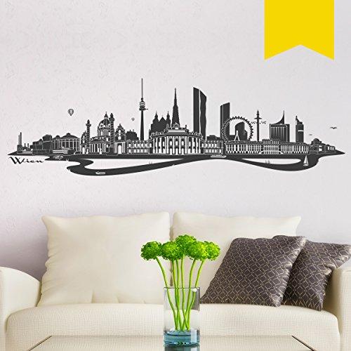 WANDKINGS Wandtattoo Skyline Wien 100 x 28 cm gelb - erhältlich in 33 Farben