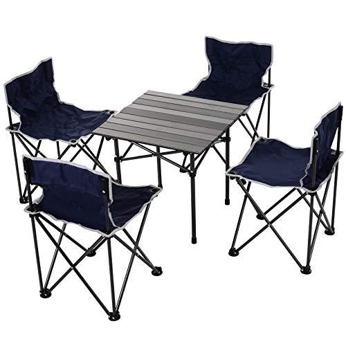 Outsunny 5-teiliges Campingmöbel, Campingtisch, Campingstuhl, 4 Stühle, 1 Tisch, Faltbar, mit Tragtasche, Stahl Oxford, Blau Schwarz, 52 x 52 x 50 cm (Tisch), 42 x 42 x 65 cm (Stuhl)
