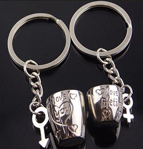 Ulooie creative metal Cup Style coppia auto portachiavi borsa ciondolo portachiavi per regali