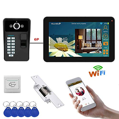 WG 9 Pulgadas Cableada/inalámbrica WiFi Fingerprint Video Timbre teléfono Portero Sistema de...