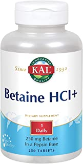 KAL Betaine HCL Tablets, 250 mg, 250 Count