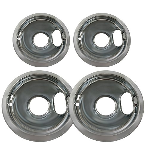 KITCHEN BASICS 101 4 Pack (2) 6' & (2) 8' Replacement Chrome Pans for Whirlpool W10278125 W10196405 W10196406