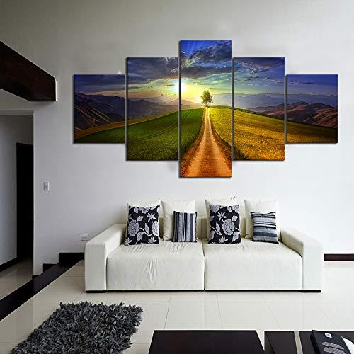 Zhuhuimin muurkunst canvasdruk poster schilderij 5 planken boom en groenland landschap foto's hoofddecoratie modulaire woonkamer L-30x40 30x60 30x80cm Frame