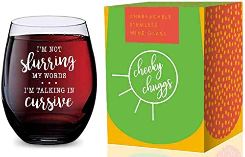 wholesale Stemless Wine Glass online (Im Not Slurring My Words Im Speaking In Cursive) Made of Unbreakable Tritan Plastic and Dishwasher online Safe - 16 ounces outlet online sale