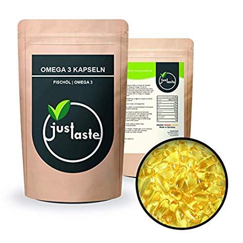 1000 Stk. Omega 3 Fischöl Kapseln - hochdosiert 1000mg Fischöl je Kapsel - Omega 3 Fettsäuren EPA und DHA - mit Vitamin E | Lachsöl | justaste 1 kg