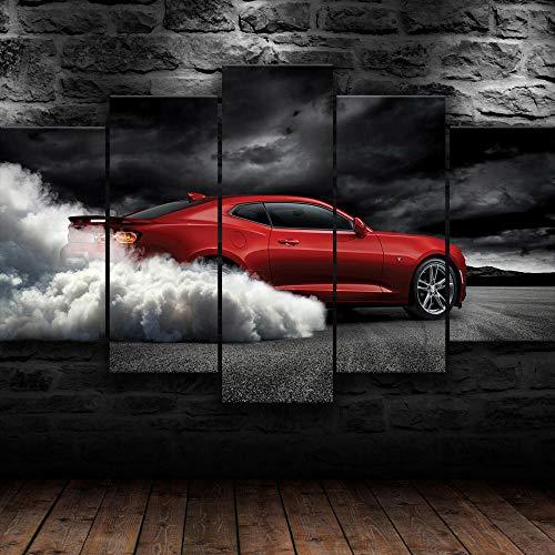 AWER 5 Piezas Pintura de lienzo de papel pintado Chevrolet Camaro Humo Imágenes Póster Mural Hd Paisaje Naturaleza lienzo de escena Regalo Naturaleza Abstracto Frames