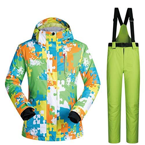 Somnrchun Waterdichte ski-jack voor heren, waterdicht, winddicht, regenjas, set M-XXXL