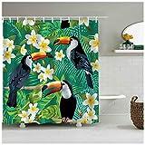 Myrwer2k Tukan Duschvorhang Tropische Dekoration Papageien Bad Tropische Pflanzen Vorhang