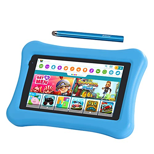 7 inch Kids Tablets Android 10 Go, 2+16GB ROM, APP Pre-Installed, 2.4G WiFi only, 1024x600 Touchscreen, AWOW Funtab 701, Adjustable Kid-Proof Case, Active Pen (7 inch-KIDOZ-216-Blue)