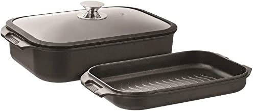 Pyrolux Non-Stick Double Roaster Non-Stick Double Roaster with Silicon Lid Set, Black, 11280