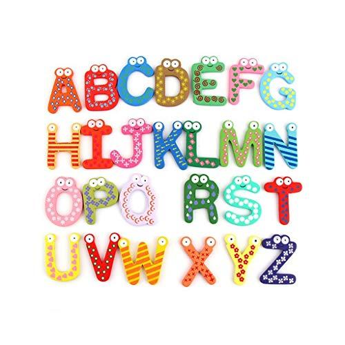 Lyguy Koelkast Stickers, 26 Stuks Hout Cartoon Alfabet Koelkast Sticker Kinderen Leren Baby Vroege Educatieve Intelligentie Ontwikkeling Oefening Tool Verjaardagscadeau
