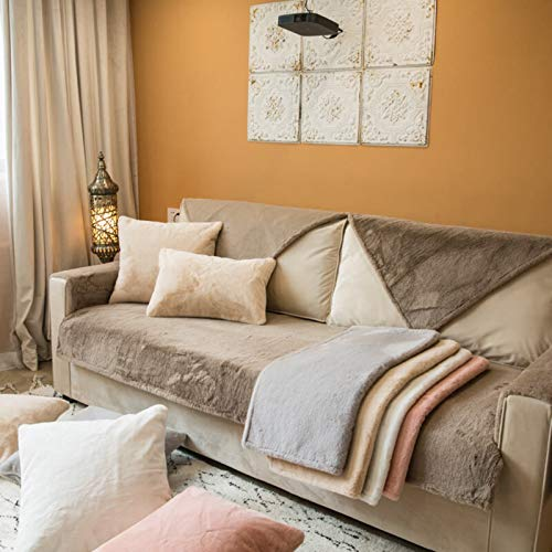 QSCV Felpa Grueso Fundas para Sofa,Suave Terciopelo 1 2 3 4 Plazas Funda Sofa Ajustables para Salon,Anti-resbalón Funda Sofá para Perros-Marrón Claro 110x210cm(43x83inch) 1pcs