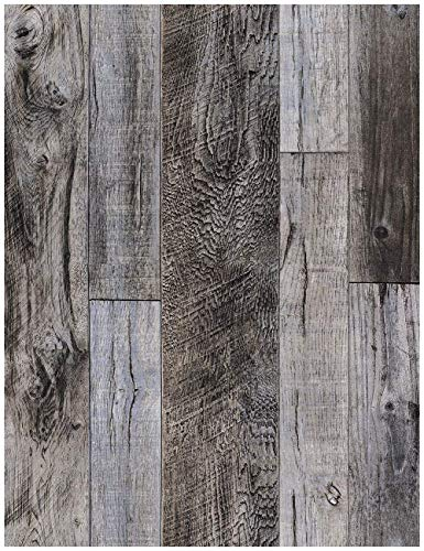 HaokHome 92048-1 Peel and Stick Wood Plank Wallpaper Shiplap 17.7in x 9.8ft Grey Vinyl Self Adhesive Decorative