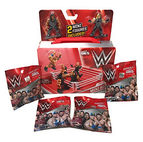 WWE Mighty Minis Portable Mini Ring Includes (2) Mini Figures Plus (4) Series 1 Mighty Minis Action Figure Blind Bags Bundle