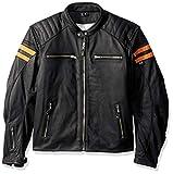 Joe Rocket Classic 92' Men's Leather Jacket (Black/Orange, Medium)