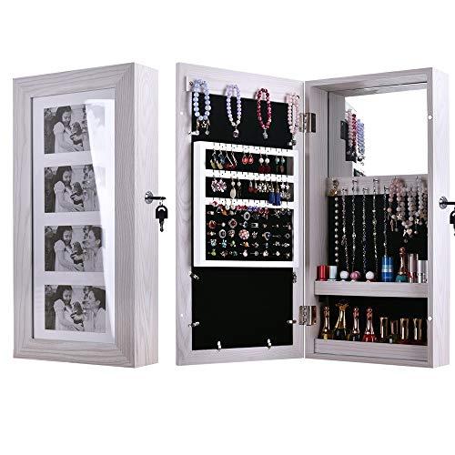 HNWNJ [Entrega rápida] Armario de joyería con espejo o puerta para colgar joyas, almacenamiento cosmético espejo gabinete con espejo bloqueable en todo el cuerpo