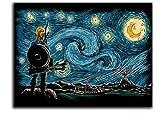 The Legend of Zelda Breath of The Wild Link Office Wall Decor Artwork Art 36' x 24' Vincent Van Gogh Starry Night Art Prints Chic Office Art, Unframed/Frameable