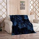 Kuidf Couvre-lit vintage en flanelle Motif camouflage tropical Bleu indigo 60 x 80 cm