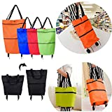 2 in 1 Foldable Shopping Cart Foldable Two-Stage Zipper Folding Shopping Bag with Wheels Foldable Shopping Cart (Orange)