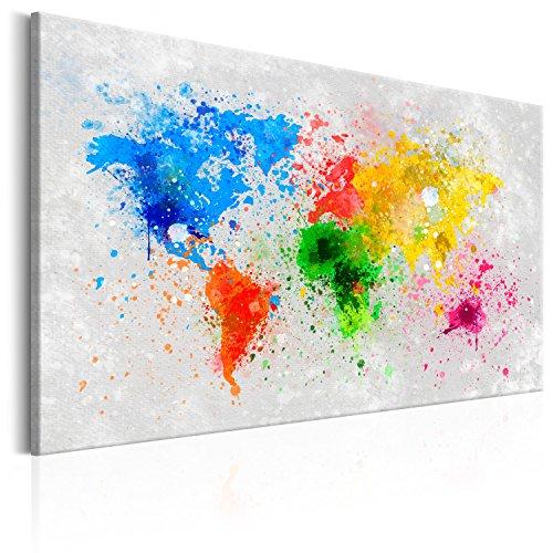 murando - Bilder Weltkarte 120x80 cm Vlies Leinwandbild 1 TLG Kunstdruck modern Wandbilder XXL Wanddekoration Design Wand Bild - Kontinente Landkarte Map bunt Farbflecken k-B-0016-b-a