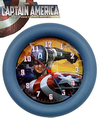 Marvel Studios Captain America Wanduhr 25cm Batterie Betrieb The First Avenger Artwork Wall Clock mit Lizens